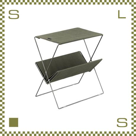 フォールディングサイドテーブル グリーン W50.5/D31.5/H53cm 折り畳み キャンバス製 ミリタリー風 アウトドア azu-mip91gr