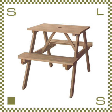 テーブル&ベンチ ライトブラウン W75/D120/H75.5/SH45cm ベンチ一体化テーブル ガーデンテーブル azu-ods91lbr