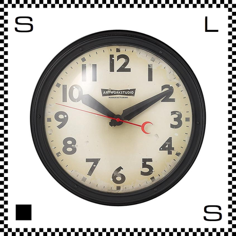 アートワークスタジオ エンジニアードクロック ブラック/ビンテージ 直径35cm ウォールクロック 掛け時計 レトロアメリカン TK-2072-BKVI