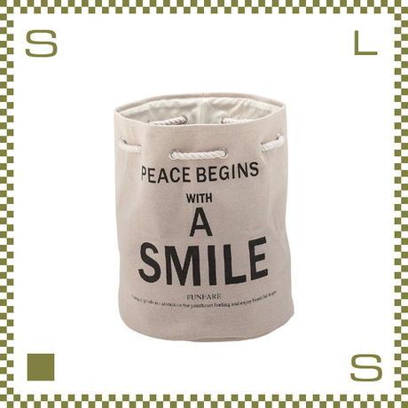 ソフトランドリーバスケット ベージュ Φ37/H45cm 麻製バスケット A SMILE azu-akb272be