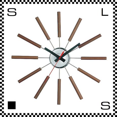アートワークスタジオ Atras アトラス ブラウン  直径51cm ウォールクロック 掛け時計 ネルソン風 放射線状 ウォルナット無垢材使用 TK-2048-BN