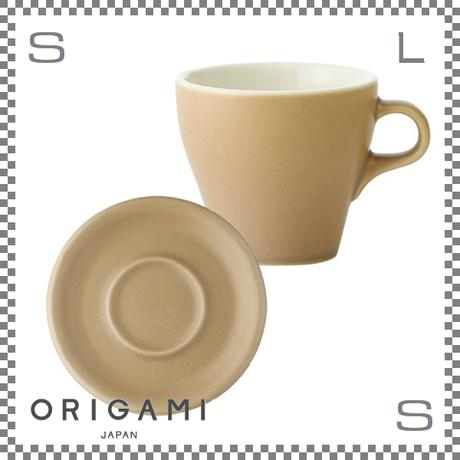 ORIGAMI オリガミ ラテカップ&ソーサー マットベージュ 8oz 250cc コーヒーカップ&ソーサー バリスタが設計 日本製