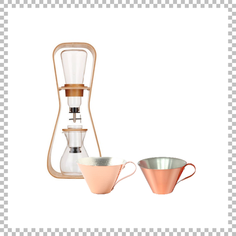 SNOWTOP COFFEE series スノウトップ ウォータドリップコーヒーサーバー & R&W 銅製アイスコーヒーカップ(マット/槌目)2個