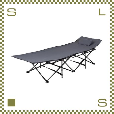 フォールディングベッド グレー W190/D67/H35cm 折り畳み可能 アウトドアベッド 枕付き azu-lfs709gy