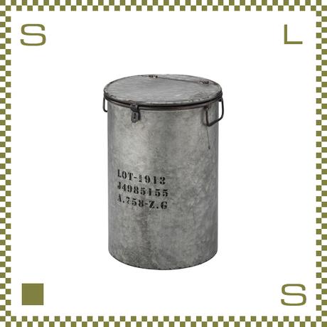 トラッシュカン ブリキ風 シルバー W31.5/D31.5/H44.5cm 蓋・ハンドル付き ごみ箱 ゴミ箱 azu-lfs442sv