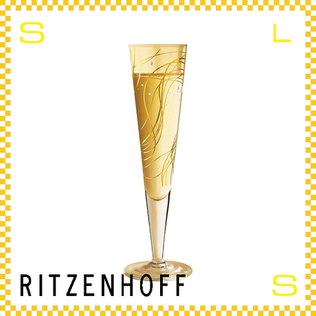 RITZENHOFF リッツェンホフ シャンパングラス 170ml ゴールドライン アソビ Φ60/H240mm フルートグラス ゴールドウェーブ ギフト  ritz-1070145