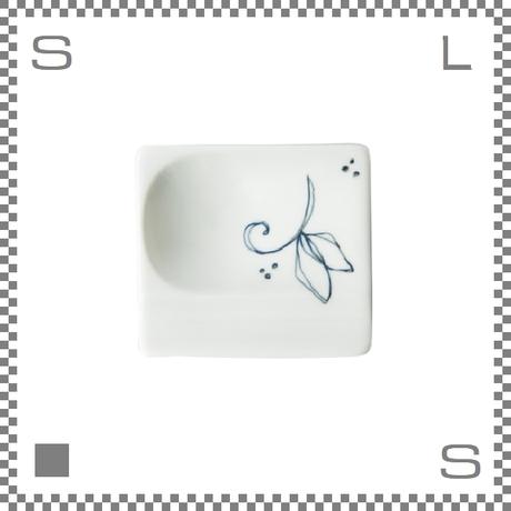 aiyu アイユー 重宝皿 鉄線花 青 ブルー W8/D7.2/H1.3cm スクエアプレート 万能皿 箸置きスペースあり 波佐見焼 日本製