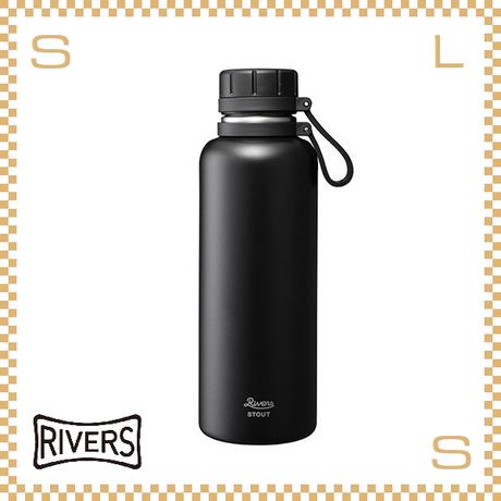RIVERS リバーズ バキュームフラスク スタウト 1000 ブラック W113/D88/H270mm 1000ml 約492g 魔法瓶 ストラップ付 中栓付 ステンレス製