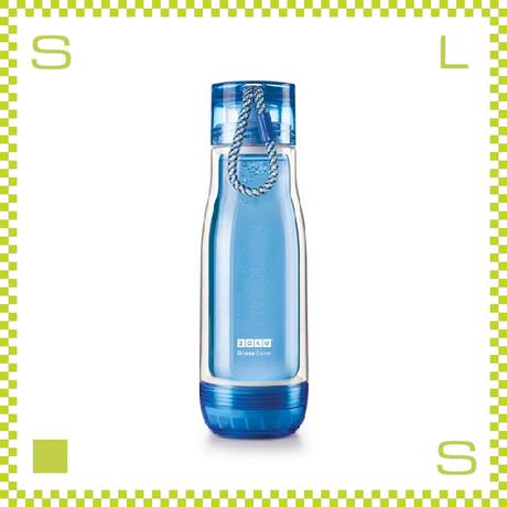 ZOKU ゾク コアボトル 475ml ブルー ダブルウォール ストラップ付 内側:耐熱ガラス 水筒 携帯ボトル