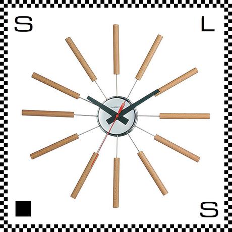 アートワークスタジオ Atras アトラス ナチュラル  直径51cm ウォールクロック 掛け時計 ネルソン風 放射線状 ウォルナット無垢材使用 TK-2048-NA