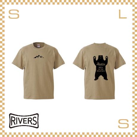RIVERS リバーズ Tシャツ UP バックベア サンドカーキー S-XLサイズ ヘビーコットン使用 ティーシャツ