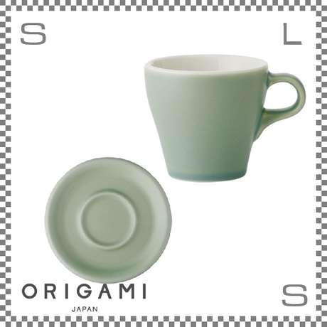 ORIGAMI オリガミ カプチーノカップ&ソーサー マットグリーン 6oz 180cc コーヒーカップ&ソーサー バリスタが設計 日本製