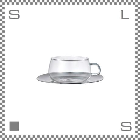 キントー UNITEA カップ&ソーサー 230ml 耐熱ガラス製カップ ステンレス製ソーサー