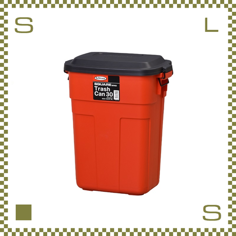 トラッシュカン レッド W39/D27/H48.6cm 蓋開閉型 ゴミ箱 大型ゴミ箱 日本製 azu-l941r