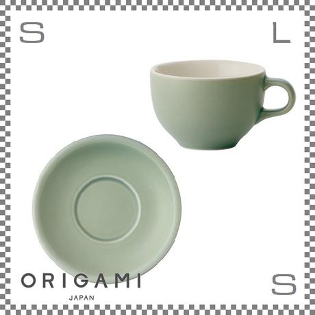 ORIGAMI オリガミ ラテボウル&ソーサー マットグリーン 6oz 180cc コーヒーカップ&ソーサー バリスタが設計 日本製