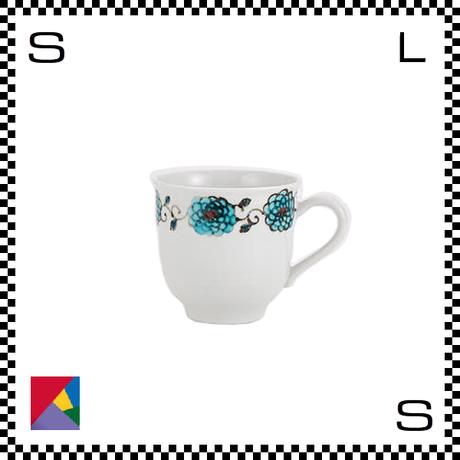 九谷焼 双鳩窯 マグカップ 花唐草 ブルー Φ9/H8.5cm コーヒーカップ ハンドメイド 日本製