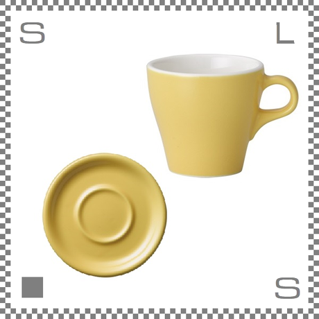 ORIGAMI オリガミ カプチーノカップ&ソーサー イエロー 6oz 180cc コーヒーカップ&ソーサー バリスタが設計 日本製