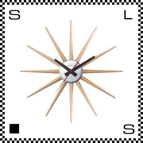 アートワークスタジオ Atras2 アトラス ナチュラル  直径465mm ウォールクロック 掛け時計 ネルソン風 放射線状 ブナ無垢材使用 TK-2074-NA
