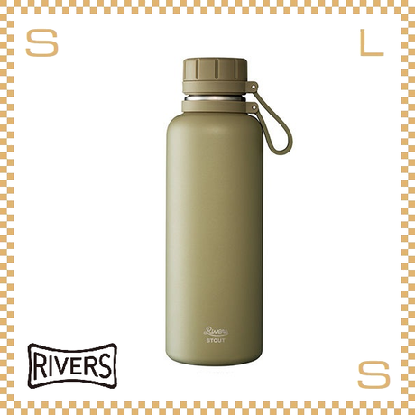 RIVERS リバーズ バキュームフラスク スタウト 1000 カーキ W113/D88/H270mm 1000ml 約494g 魔法瓶 ストラップ付 中栓付 ステンレス製