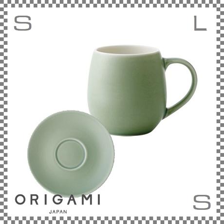 ORIGAMI オリガミ バレルアロマカップ&ソーサー マットグリーン Φ76/W105/H78mm 210cc コーヒーマグ マグカップ アロマが愉しめる 日本製
