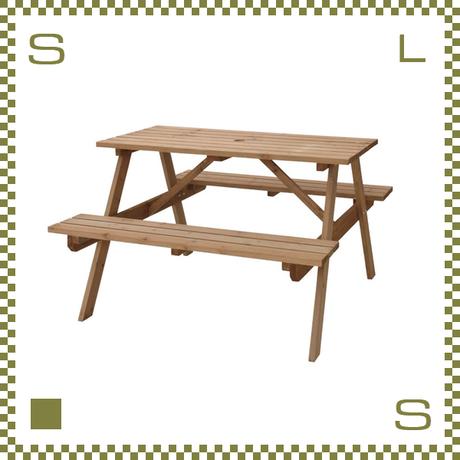 テーブル&ベンチ ライトブラウン W120/D135/H75.5/SH45cm ベンチ一体化テーブル ガーデンテーブル azu-ods92lbr