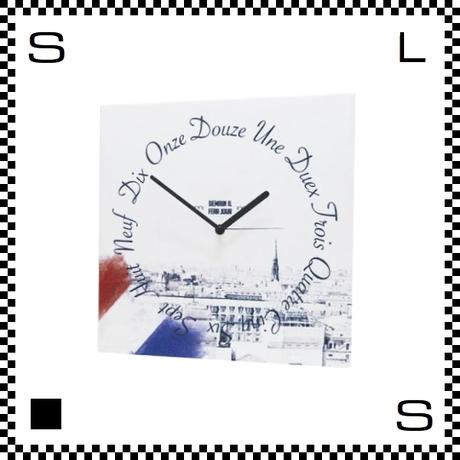 FRENCH フレンチ W30/D2/H30cm フランス語 トリコロール ウォールクロック 壁掛け時計 スイープクオーツ使用 日本製