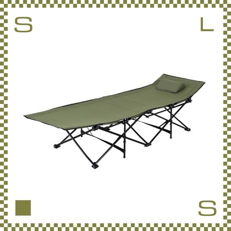 フォールディングベッド グリーン W190/D67/H35cm 折り畳み可能 アウトドアベッド 枕付き azu-lfs709gr
