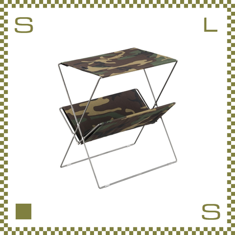 フォールディングサイドテーブル カモフラージュ W50.5/D31.5/H53cm 折り畳み キャンバス製 ミリタリー風 アウトドア azu-mip91cm