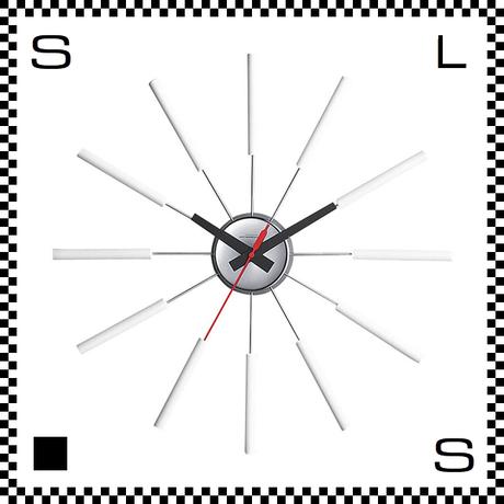 アートワークスタジオ Atras アトラス ホワイト  直径51cm ウォールクロック 掛け時計 ネルソン風 放射線状 ウォルナット無垢材使用 TK-2048-WH