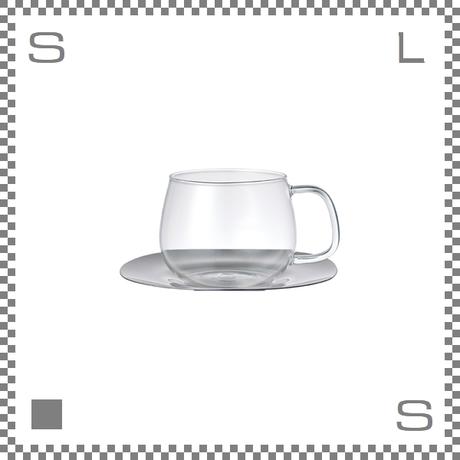 キントー UNITEA カップ&ソーサー 350ml 耐熱ガラス製カップ ステンレス製ソーサー