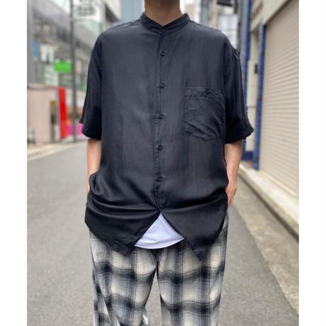 90s band collar s/s silk shirt