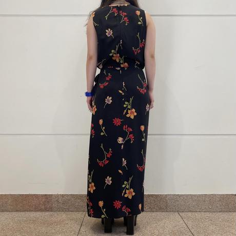 old flower patterned silk long dress