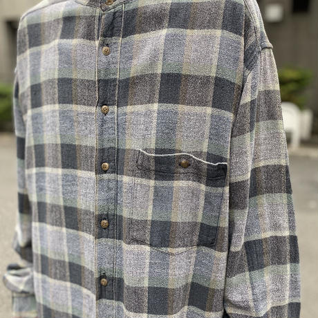 band collar L/S flannel shirt