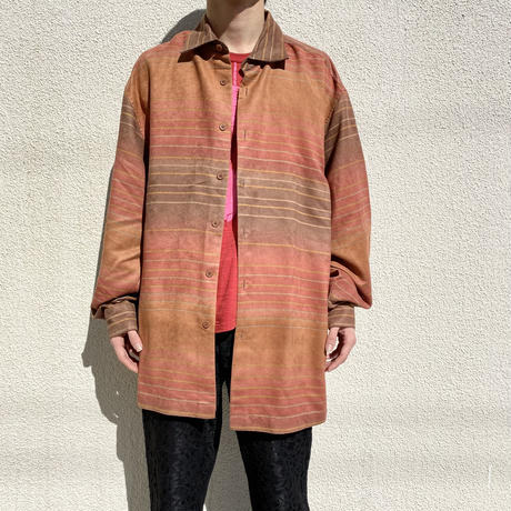 oversized gradation design fake suede shirt
