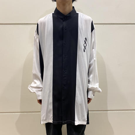 90s oversized 2tone band collar shirt
