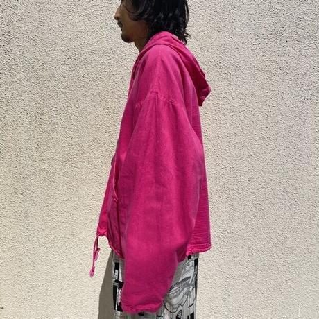 90s hooded cotton shirt (PNK)