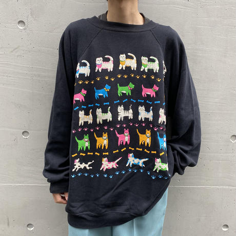 old cats & dogs print sweat shirt
