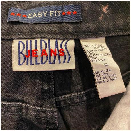80s bleach design black denim pants
