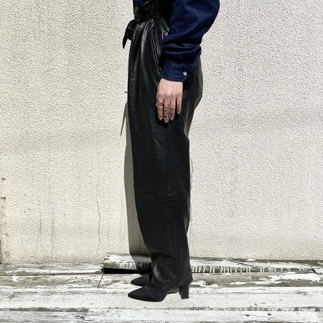80s〜leather tapered pants