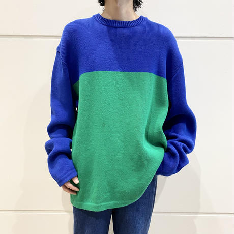 90s 2tone cotton knit sweater