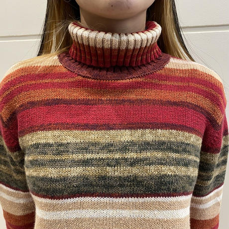 90s multi striped turtle necked sweater