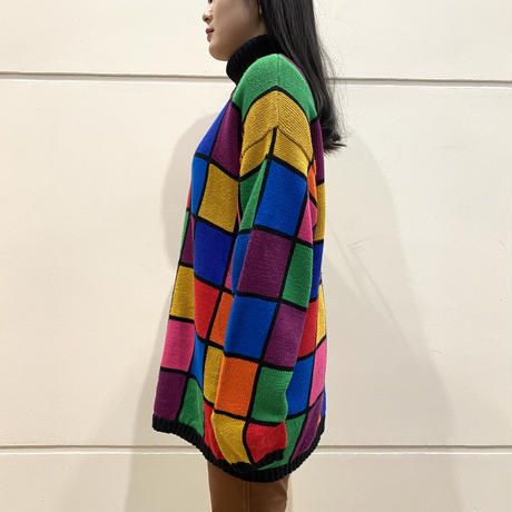 80s~ all patterned colorful turtle knit sweater