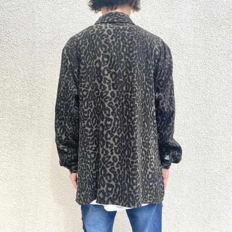 90s~ leopard design fake suede shirt