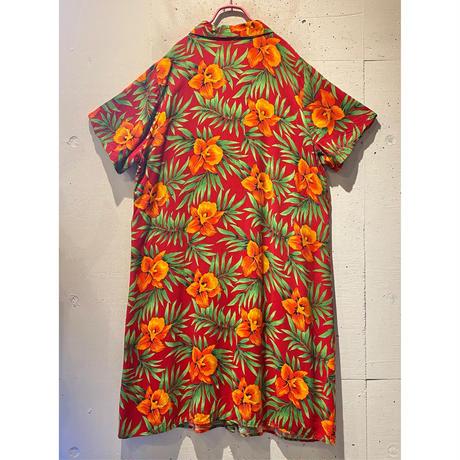 flower pattern long shirt one-piece