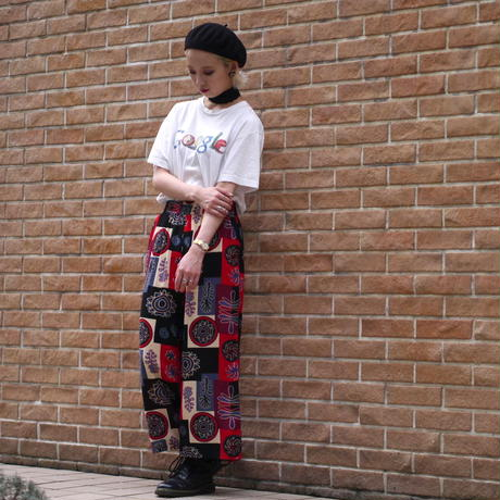 All pattern wide easy pants