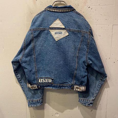 """80s """"GET USED"""" short & wide denim jacket"""