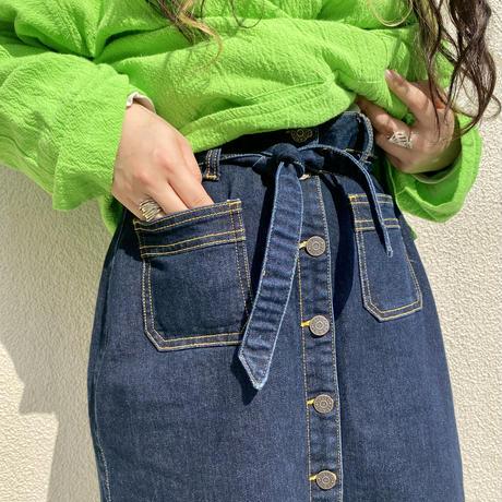 old denim long skirt