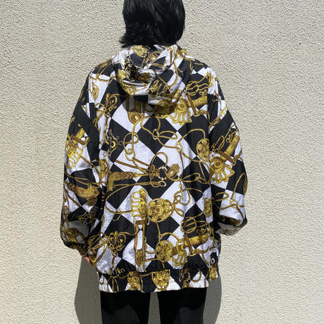 80s~ all patterned zip up nylon jacket