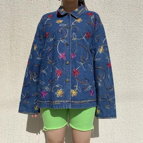 90s~ embroidery flower patterned denim jacket