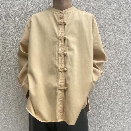 old band collar cotton shirt